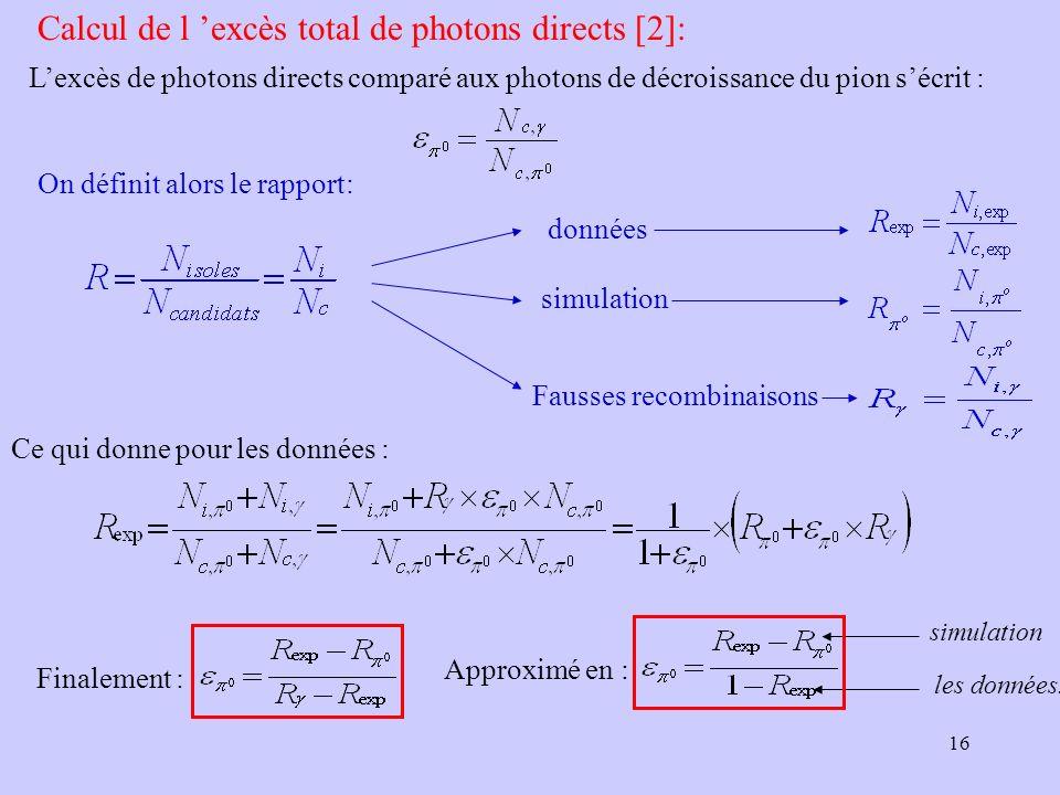 Calcul de l 'excès total de photons directs [2]: